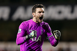 Hugo Lloris of Tottenham Hotspur celebrates after Roberto Soldado scores a goal to make it 2-1 - Photo mandatory by-line: Rogan Thomson/JMP - 07966 386802 - 30/11/2014 - SPORT - FOOTBALL - London, England - White Hart Lane - Tottenham Hotspur v Everton - Barclays Premier League.