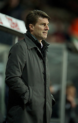 SWANSEA, WALES - Saturday, December 8, 2012: Swansea City's manager Brian Laudrup during the Premiership match against Norwich City at the Liberty Stadium. (Pic by David Rawcliffe/Propaganda)
