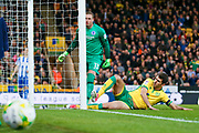 Norwich City striker Nelson Oliveira (9) slides in but can't reach the ball during the EFL Sky Bet Championship match between Norwich City and Brighton and Hove Albion at Carrow Road, Norwich, England on 21 April 2017. Photo by Simon Davies.