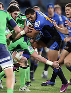 Alfie Mafi is up-ended by the Highlanders defence..Investec Super Rugby - Highlanders v Force, 3 June 2011, Carisbrook Stadium, Dunedin, New Zealand..Photo: Rob Jefferies / www.photosport.co.nz