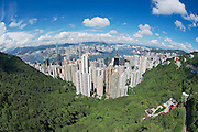 Wide angle aerial view to the Hong Kong city, China.