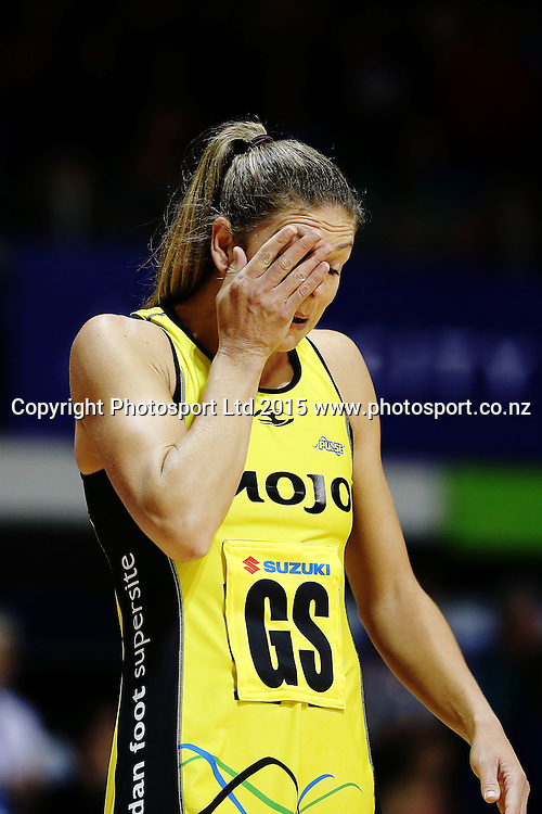 Irene van Dyk of the Pulse reacts. 2015 ANZ Championship, Northern Mystics v Central Pulse, The Trusts Arena, Auckland, New Zealand. Photo: Anthony Au-Yeung / www.photosport.co.nz