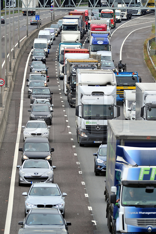 © Licensed to London News Pictures. 23/08/2018<br /> Dartford, UK.<br /> August Bank holiday getaway traffic chaos on the M25,Dartford.<br /> Anti clock-wise queues this afternoon.<br /> Photo credit: Grant Falvey/LNP
