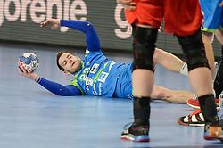 Miha Zarabec of Slovenia during handball match between National teams of Slovenia and Denmark on Day 2 in Main Round of Men's EHF EURO 2018, on January 19, 2018 in Arena Varazdin, Varazdin, Croatia. Photo by Mario Horvat / Sportida