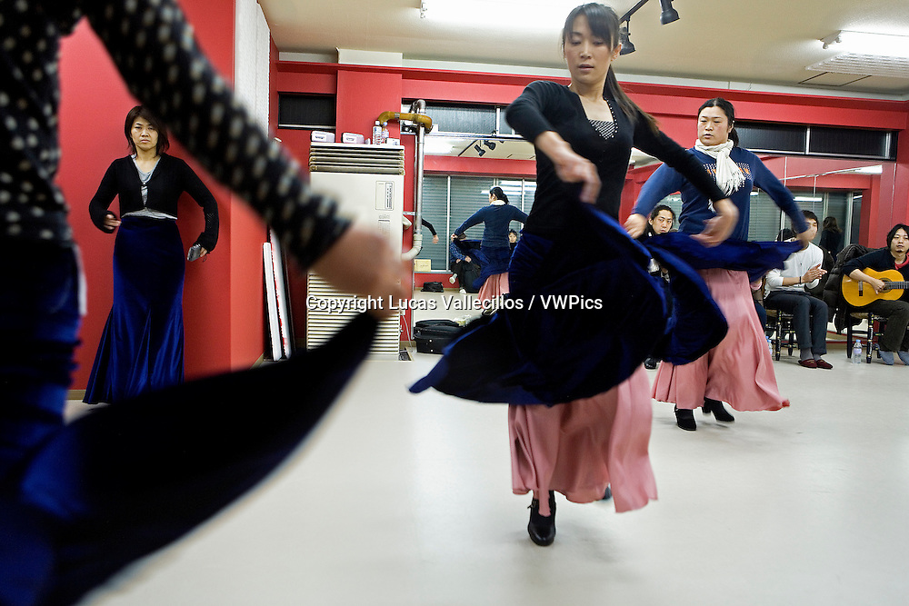 Students of flamenco dance, in the  Kayoko nakata´s dance centre.Morioka,Iwate prefecture,Japan.