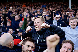 LONDON, ENGLAND - Sunday, March 17, 2019: Liverpool supporters celebrate the second goal during the FA Premier League match between Fulham FC and Liverpool FC at Craven Cottage. (Pic by David Rawcliffe/Propaganda)