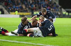 Falkirk's Mark Miller celebrates after scoring their third goal..Falkirk 3 v 2 Rangers..©Pic : Michael Schofield.