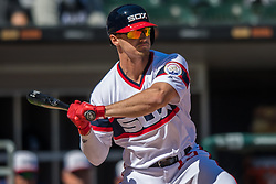 May 6, 2018 - Chicago, IL, U.S. - CHICAGO, IL - MAY 06: Chicago White Sox center fielder Adam Engel (15) at bat during a game between the Minnesota Twins the Chicago White Sox on May 6, 2018, at Guaranteed Rate Field, in Chicago, IL. (Photo by Patrick Gorski/Icon Sportswire) (Credit Image: © Patrick Gorski/Icon SMI via ZUMA Press)