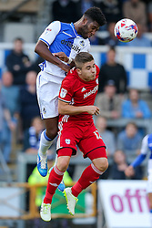 Ellis Harrison of Bristol Rovers and Declan John of Cardiff City compete in the air - Rogan Thomson/JMP - 11/08/2017 - FOOTBALL - Memorial Stadium - Bristol, England - Bristol Rovers v Cardiff City - EFL Cup First Round.
