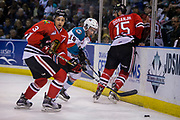 KELOWNA, CANADA - APRIL 07:  Caleb Jones #3 of the Portland Winterhawks, Dillon Dube #19 of the Kelowna Rockets, Shaun Dosanjh #15 of the Portland Winterhawks at the Kelowna Rockets game on April 07, 2017 at Prospera Place in Kelowna, British Columbia, Canada.  (Photo By Cindy Rogers/Nyasa Photography,  *** Local Caption ***