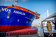 ROTTERDAM - Queen Maxima christens Van Oord's new trailing suction hopper dredger in Rotterdam. The baptism of the Vox Amalia, named after the eldest daughter of Queen Maxima and King Willem-Alexander, is dominated by the 150th anniversary of the dredging company. Right CEO Pieter van Oord. copyrught robin utrecht