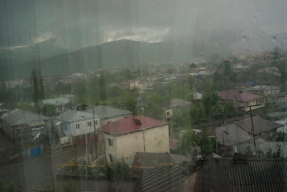 A morning thunderstorm on Sunday, May 8, 2016 in Stepanakert, Nagorno-Karabakh.