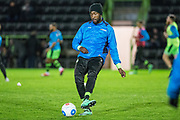Forest Green Rovers Manny Monthe(3) warming up during the Vanarama National League match between Forest Green Rovers and Solihull Moors at the New Lawn, Forest Green, United Kingdom on 21 March 2017. Photo by Shane Healey.