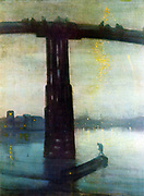 Nocturne:  Blue and Gold - Old Battersea Bridge', 1872-1875.  Oil on canvas. James Abbott McNeill Whistler (1834-1903) American painter based in Britain.  Night Water Reflection River Thames London England Transport Barge