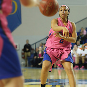 Delaware Guard Courtni Green (2) passes the ball to a teammate in the first half of a NCAA regular season Colonial Athletic Association conference game between Delaware and The Towson Tigers Sunday, Feb 16, 2014 at The Bob Carpenter Sports Convocation Center in Newark Delaware.