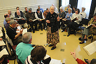 Josie Hyde leads Sacred Harp singing at Ole Miss in Oxford, Miss. on Sunday, March 14, 2010.