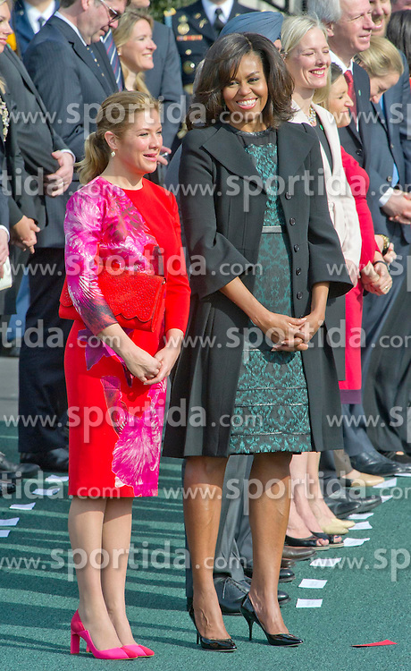 First Lady Michelle Obama, right, and Mrs. Sophie Gr&eacute;goire Trudeau of Canada, left, listen as their husbands make remarks during an Arrival Ceremony opening the Official Visit of Prime Minister Justin Trudeau of Canada and Mrs. Trudeau on the South Lawn of the White House in Washington, DC on Thursday, March 10, 2016. EXPA Pictures &copy; 2016, PhotoCredit: EXPA/ Photoshot/ Ron Sachs<br /> <br /> *****ATTENTION - for AUT, SLO, CRO, SRB, BIH, MAZ, SUI only*****