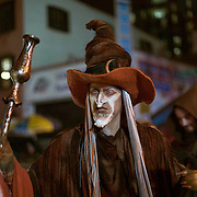 Costumed revelers at annual Greenwich Village Halloween parade, New York, NY