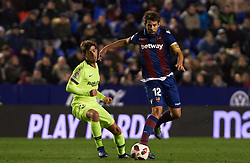 January 10, 2019 - Valencia, Valencia, Spain - Coke Andujar of Levante UD and Sergi Roberto of FC Barcelona during the Spanish Copa del Rey match between Levante and Barcelona at Ciutat de Valencia Stadium on Jenuary 10, 2019 in Valencia, Spain. (Credit Image: © Maria Jose Segovia/NurPhoto via ZUMA Press)