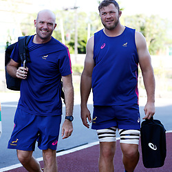 URAYASU, JAPAN - SEPTEMBER 17: Jacques Nienaber (Defence Coach) of South Africa with Duane Vermeulen  during the South African national rugby team training session at Arcs Urayasu Park on September 17, 2019 in Urayasu, Japan. (Photo by Steve Haag/Gallo Images)