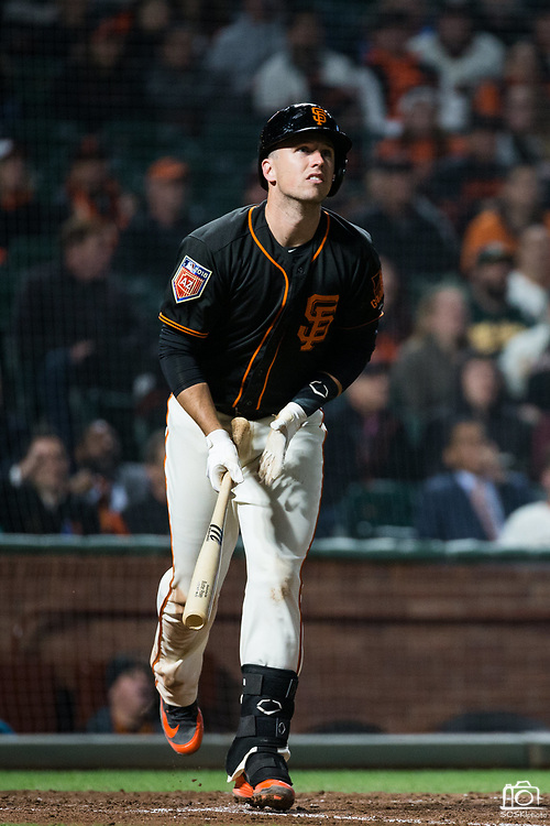San Francisco Giants catcher Buster Posey (28) bats against the Oakland Athletics at AT&T Park in San Francisco, California, on March 26, 2018. (Stan Olszewski/Special to S.F. Examiner)