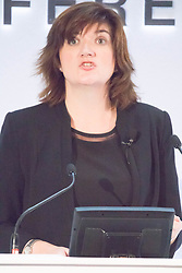 City Hall, London, November 27 2015. Four hundred school and college leaders together with international experts and leaders in education join forces at City Hall for the third annual education conference organised by the Mayor of London. PICTURED: Secretary of State for Education Nicky Morgan addresses the afternoon plenary session.