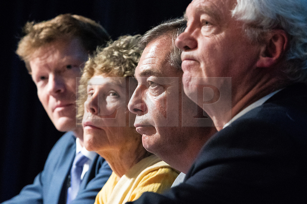 """© Licensed to London News Pictures . 22/09/2018. Bolton, UK. RICHARD TICE , KATE HOEY , NIGEL FARAGE and DAVID DAVIS . Pro Brexit campaign group Leave Means Leave host a """" Save Brexit """" and """" Chuck Chequers """" rally at the University of Bolton Stadium , attended by leave-supporting politicians from a cross section of parties , including Conservative David Davis , former UKIP leader Nigel Farage and Labour's Kate Hoey . Photo credit: Joel Goodman/LNP"""