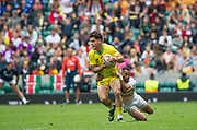 Twickenham, Surrey United Kingdom. Australian Simon KENNEWELL, tackled by englands Dan NORTON, during the Pool D match, England vs Australia, at the &quot;2017 HSBC London Rugby Sevens&quot;,  Saturday 20/05/2017 RFU. Twickenham Stadium, England    <br /> <br /> [Mandatory Credit Peter SPURRIER/Intersport Images]