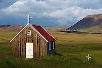 Islande, peninsule de Reykjanes, eglise de Krysuvik // Iceland, Reyjanes peninsula, Krysuvik church
