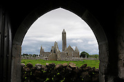 Burren, Kilmacduagh monastery near Gort, obne of the most important monastic complex of Ireland.