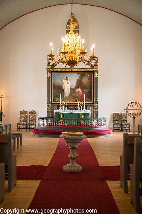 Interior of Bronnoy Church, Bronnoysund, Nordland, Norway built in 1870