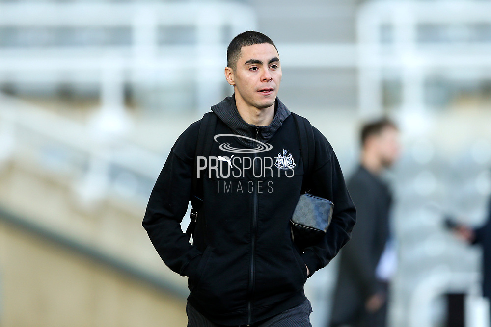 Miguel Almiron (#24) of Newcastle United arrives ahead of the Premier League match between Newcastle United and Southampton at St. James's Park, Newcastle, England on 8 December 2019.