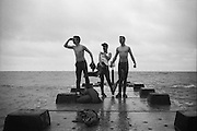 Parsloe, Kelly and Symond on the pier, UK, 1980s