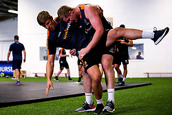 Caleb Montgomery and GJ van Velze of Worcester Warriors during preseason training ahead of the 2019/20 Gallagher Premiership Rugby season - Mandatory by-line: Robbie Stephenson/JMP - 06/08/2019 - RUGBY - Sixways Stadium - Worcester, England - Worcester Warriors Preseason Training 2019
