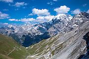 The Stelvio Pass (left) in The Ortler Alps - Passo dello Stelvio, Stilfser Joch - in the Eastern Alps in Northern Italy