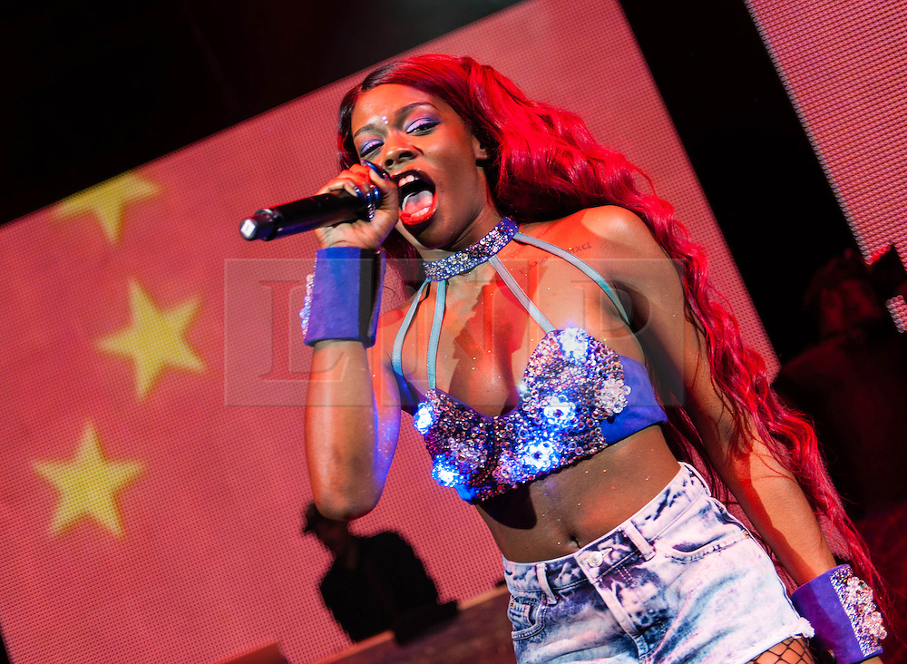 """© Licensed to London News Pictures. 12/10/2012. London, UK.  Azealia Banks performing live at O2 Shepherds Bush Empire.  Azealia Amanda Banks, formerly known under the pseudonym Miss Bank$ (born May 31, 1991,) is an American rapper, singer and lyricist from Harlem, New York signed to Interscope/Polydor. She rose in notability in 2011 when she topped NME's """"Cool List"""" for the year. On December 5, 2011, the BBC announced that Banks had been nominated for the Sound of 2012, where she ultimately finished third.  Her debut single, """"212"""" featuring Lazy Jay, was released on December 6, 2011.  Photo credit : Richard Isaac/LNP"""
