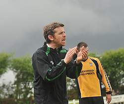 Castlebar Celtic'c manager Stevie Gavin encouraging his team in Milebush Castlebar.<br /> Pic Conor McKeown