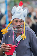 Drinking beer out of a bucket - The 2016 Glastonbury Festival, Worthy Farm, Glastonbury.