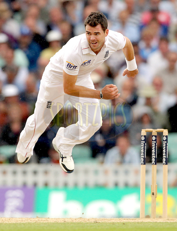 © Andrew Fosker / Seconds Left Images 2012 -  England's James Anderson bowling  completes his delivery in the air England v South Africa - 1st Investec Test Match -  Day 2 - The Oval  - London - 20/07/2012