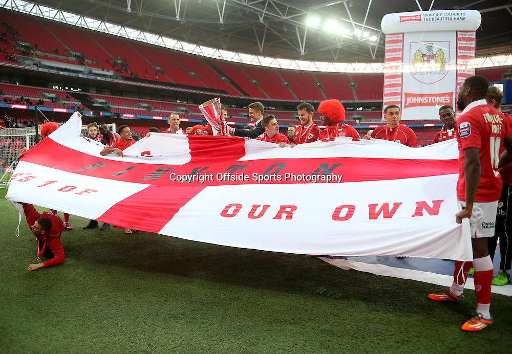 22 March 2015 - Johnstones Paint Trophy Final - Bristol City v Walsall - Bristol City players display a flag after winning the JPT.<br /> <br /> Photo: Ryan Smyth/Offside