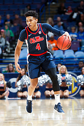 ST. LOUIS, Mo., -- Game 02 of the 2018 SEC Men's Basketball Tournament played between Ole Miss and South Carolina, Wednesday, March 07, 2018 at the Scott Trade Center in ST. LOUIS. Ole Miss guard Breein Tyree.