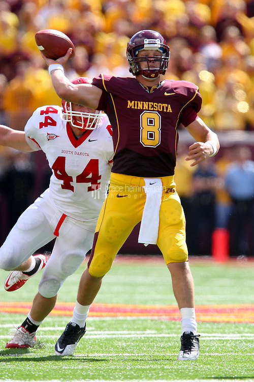 11 September 2010: Minnesota Golden Gophers quarterback Adam Weber (8) during the game against the South Dakota Coyotes at TCF Bank Stadium on September 11, 2010 in Minneapolis, MN.