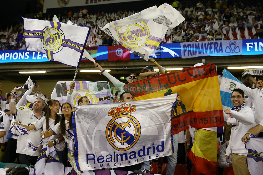 June 3, 2017 - Cardiff, Walles, United Kingdom - Real Madrid fans enjoy at National Stadium in Cardiff, Wales on June 3, 2017 prior to the UEFA Champions League Final between Juventus and Real Madrid on June 3, 2017 in Cardiff, Wales. (Credit Image: © Matteo Ciambelli/NurPhoto via ZUMA Press)