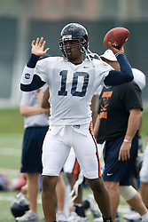 Virginia Cavaliers QB Jameel Sewell (10)..The Virginia Cavaliers football team held their first open practice of the 2007 season on the practice fields next to the University of Virginia's McCue Center in Charlottesville, VA on August 10, 2007.