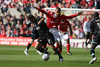 Photo: Pete Lorence.<br />Nottingham Forest v Scunthorpe United. Coca Cola League 1. 07/10/2006.<br />Scunthorpe's Mark Sparrow fends off James Perch.