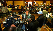 12//29/09  - The Oregon Ducks Ed Dickson (83) is surrounded by the press during team media day Wednesday morning at the downtown L.A. Marriott.