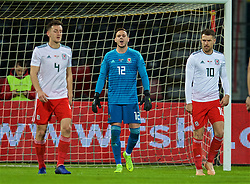ELBASAN, ALBANIA - Tuesday, November 20, 2018: Wales' goalkeeper Daniel Ward looks dejected as Albania score the only goal of the game from a penalty during the International Friendly match between Albania and Wales at the Elbasan Arena. (Pic by David Rawcliffe/Propaganda)