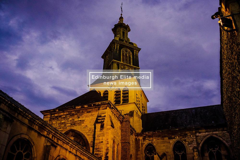 Eglise Saint-Jacques in Reims - floodlit in the evening<br /> <br /> (c) Andrew Wilson | Edinburgh Elite media