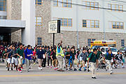 Students are released from Sam Tasby Middle School in Dallas, Texas on October 2, 2014. Officials confirmed that a student at Sam Tasby Middle School had come in contact with the first confirmed Ebola virus patient in the United States. (Cooper Neill for The New York Times)