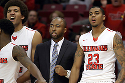 31 December 2014:  Reggie Lynch, Will Veasley, Deontae Hawkins during an NCAA Division 1 Missouri Valley Conference (MVC) men's basketball game between the Indiana State Sycamores beat the Illinois State Redbirds 63-61 at Redbird Arena in Normal Illinois
